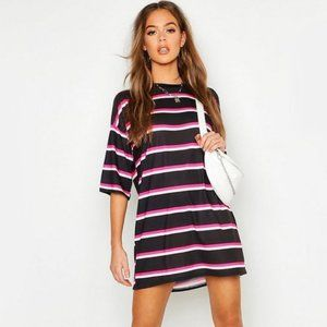 NEON STRIPE OVERSIZED T-SHIRT DRESS